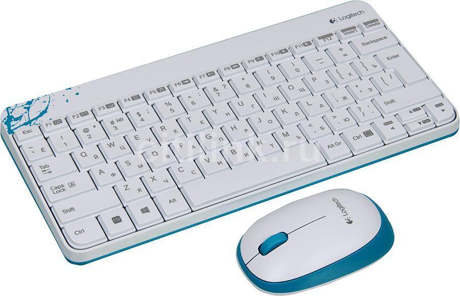 Комплект (клавиатура+мышь) LOGITECH MK240, USB, беспроводной, белый [920-005791]