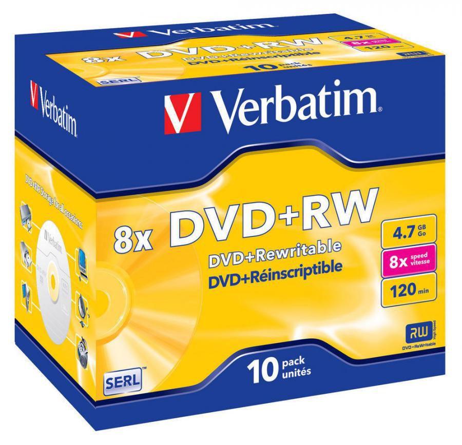 Оптический диск DVD+RW VERBATIM 4.7Гб 8x, 10шт., 43527, jewel case