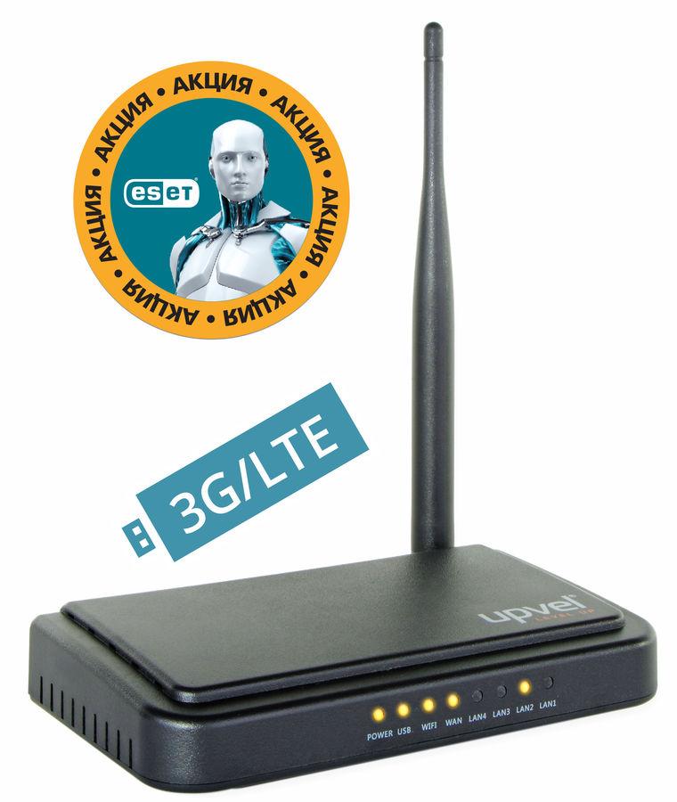 Беспроводной маршрутизатор UPVEL UR-313N4G,  черный