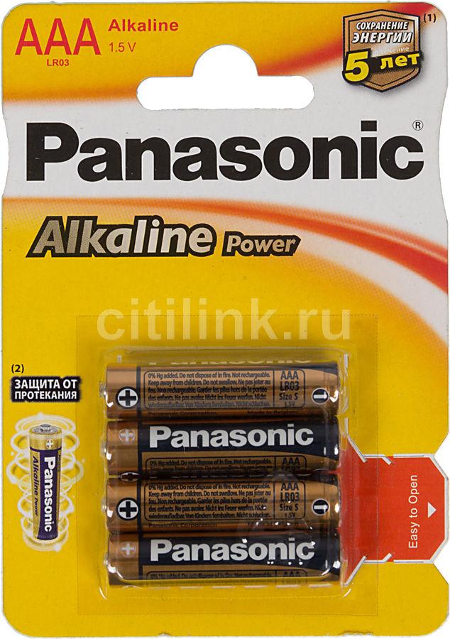 Батарея PANASONIC Alkaline Power LR03APB/4BP LR03,  4 шт. AAA