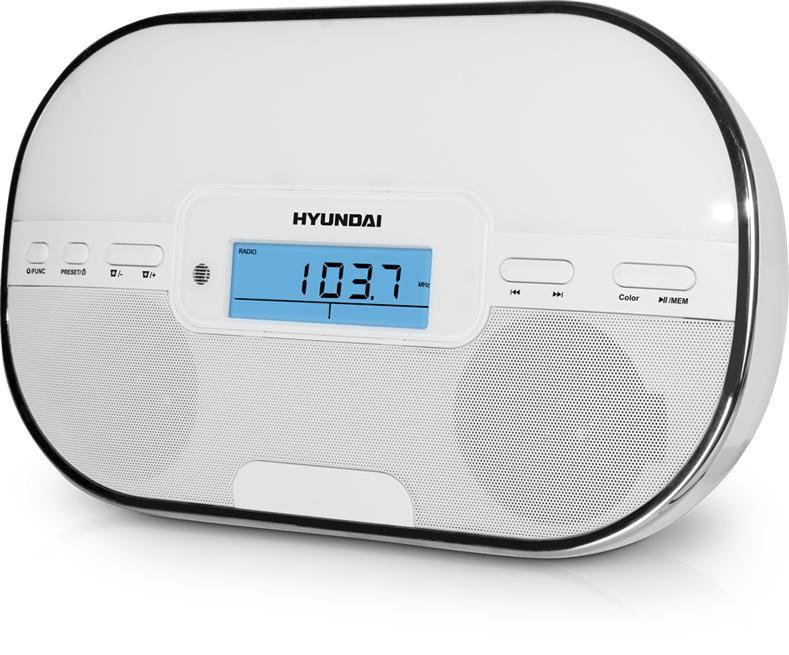 Аудиомагнитола HYUNDAI H-AS1201iu,  белый и серебристый