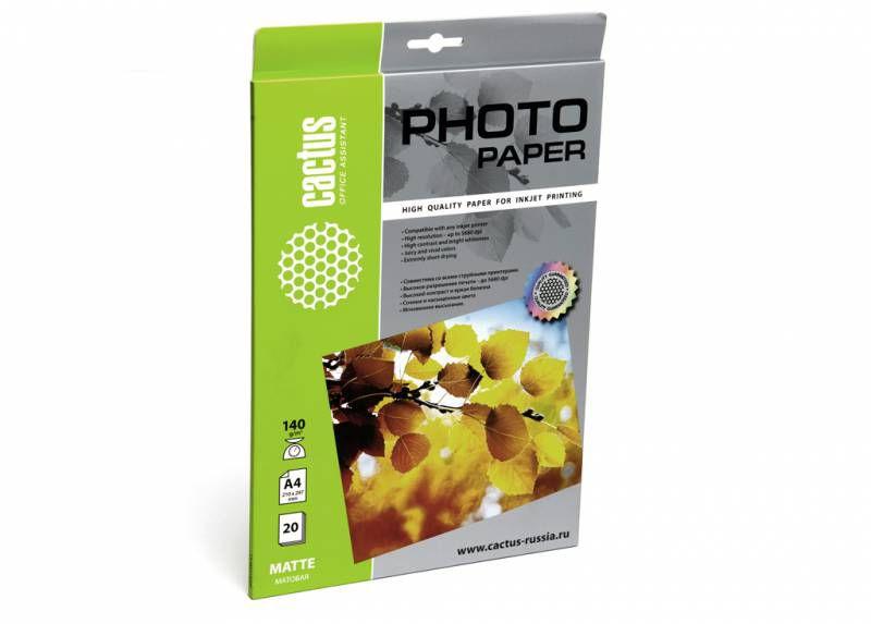 Фотобумага Cactus CS-MA414020 A4/140г/м2/20л./белый матовое для струйной печати