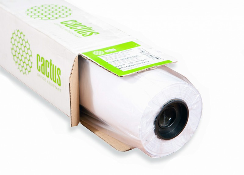 """Бумага Cactus CS-PC120-106730 42""""(A0+) 1067мм-30м/120г/м2/белый универсальная (с покрытием) втулка:5"""