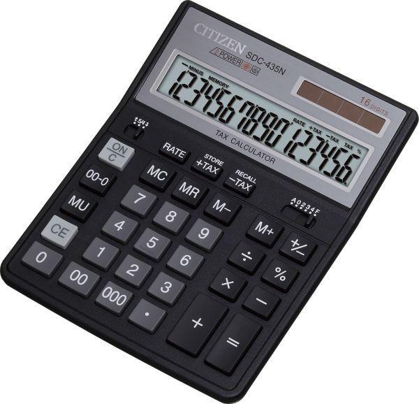 Калькулятор CITIZEN SDC-435N,  16-разрядный, черный