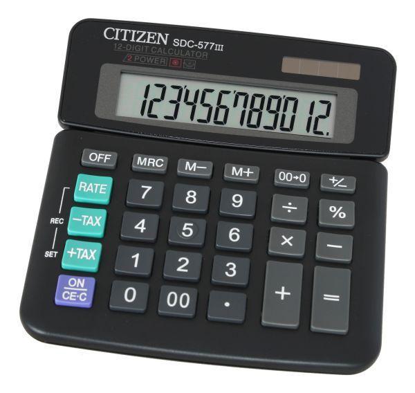 Калькулятор CITIZEN SDC-577III,  12-разрядный, черный