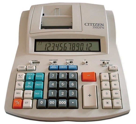 Калькулятор CITIZEN 350DPNES,  12-разрядный, белый