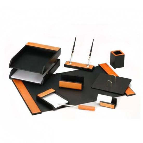 Настольный набор GOOD SUNRISE H8G-1A/C, дерево/МДФ, 9 предметов, черный/оранжевый