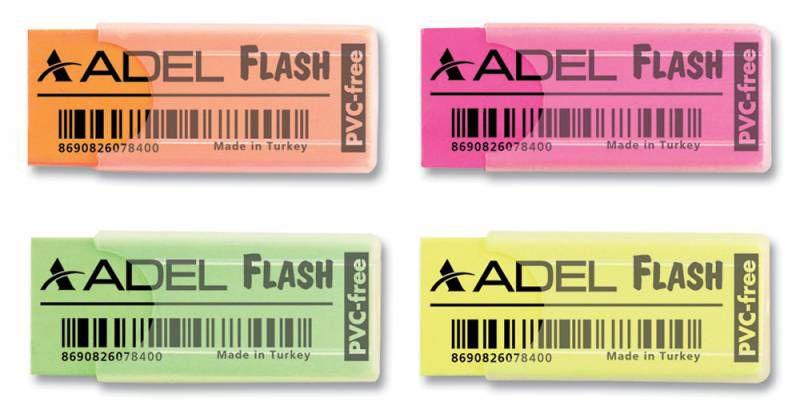 Ластик Adel FLASH 227-0784-000 50x19.5x10мм каучук ассорти прозрачный пластик. чехол