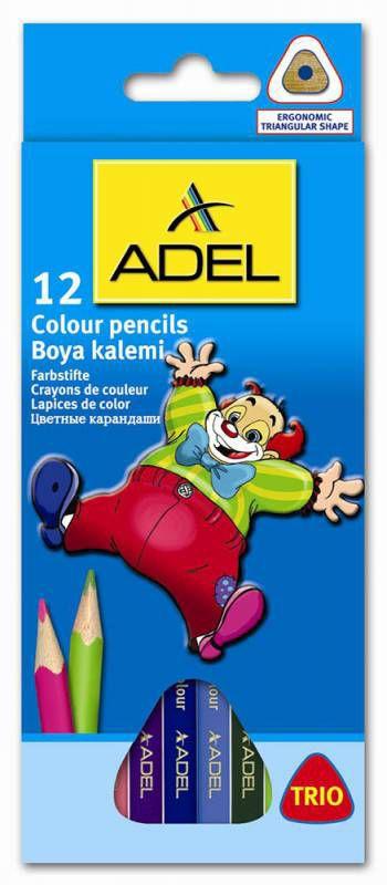 Карандаши цветные Adel Colour TRIO 211-3315-007 трехгран. 3мм 12цв. коробка/европод.