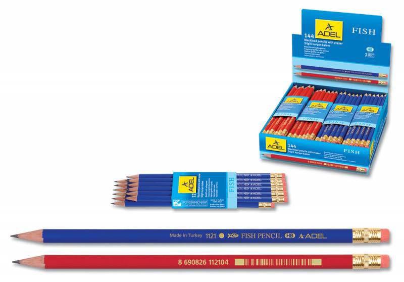 Карандаш чернографит. Adel FISH 202-1121-000 HB ластик корпус ассорти (кр/син)