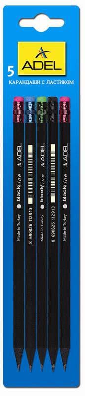 Карандаш чернографит. Adel BlackLine 250-1129-005 HB черное дерево ластик корпус черный блистер (5шт