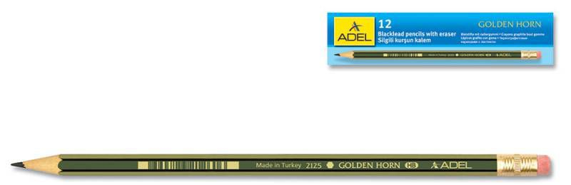 Карандаш чернографит. Adel GOLDEN HORN 204-2125-005 HB ластик корпус желтый/зеленый