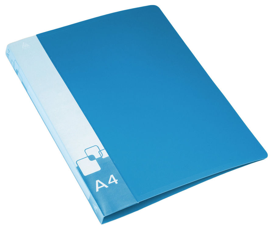 Папка на 4-х кольцах Бюрократ -0818/4RBLU A4 пластик 0.7мм кор.18мм внут.и торц.карм синий