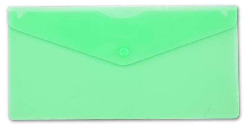 Конверт на кнопке Бюрократ -PK805AGRN пластик 0.18мм зеленый TRAVEL формат