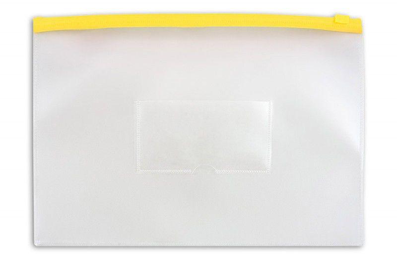 Папка на молнии ZIP Бюрократ -BPM4AYEL A4+ полипропилен 0.15мм карм.для визит. цвет молнии желтый