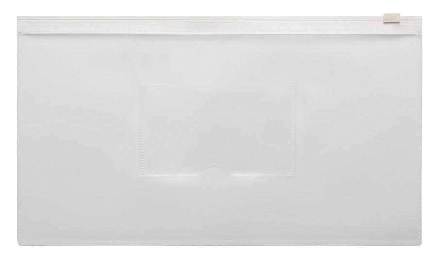 Папка на молнии ZIP Бюрократ -BPM6AWT полипропилен 0.15мм карм.для визит. цвет молнии белый Travel ф