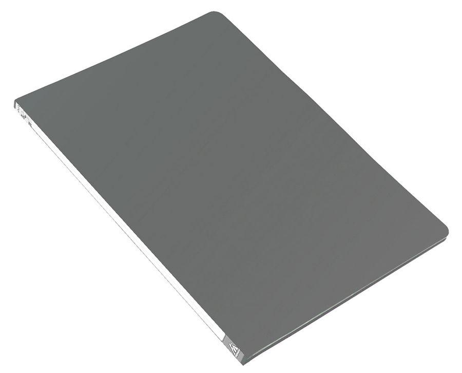 Папка с метал.зажим Бюрократ -PZ05CGREY A4 пластик 0.5мм торц.наклейка серый