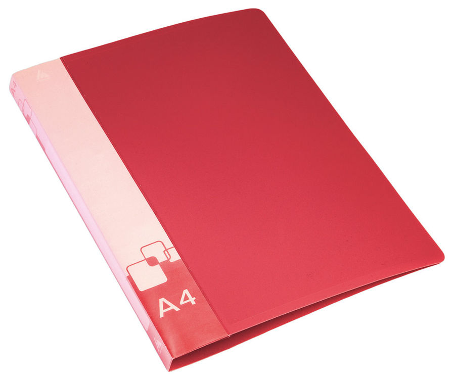Папка с метал.пруж.скоросш. Бюрократ -PZ07PRED A4 пластик 0.7мм внут.и торц.карм красный