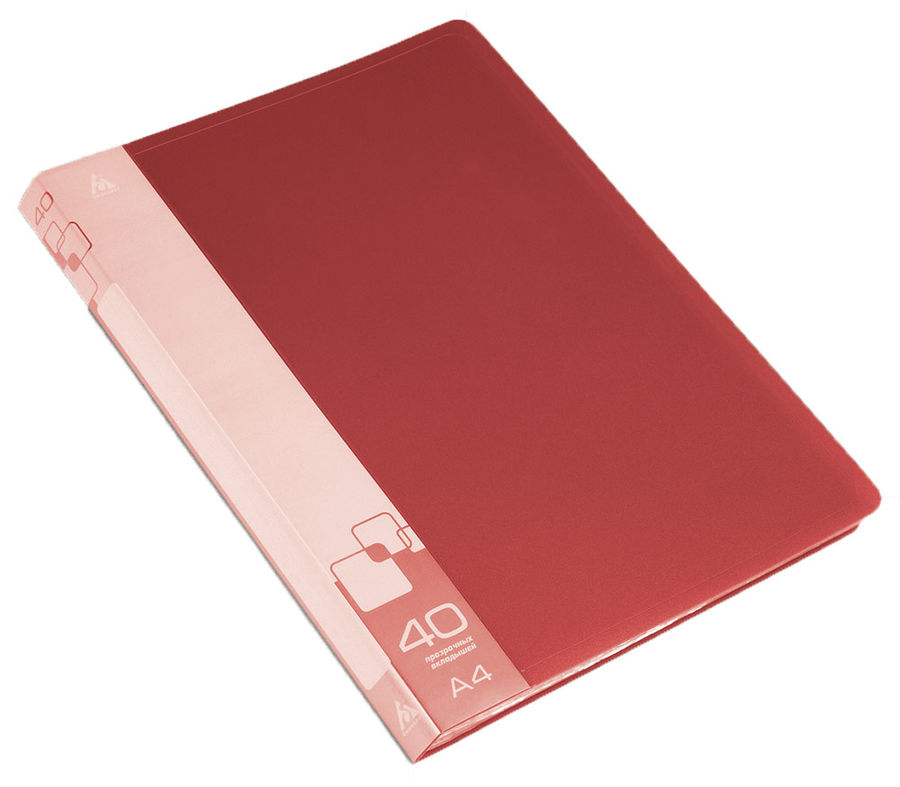Папка с 40 прозр.вклад. Бюрократ -BPV40RED A4 пластик 0.65мм торц.карм с бум. встав красный