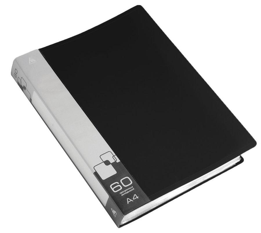 Папка с 60 прозр.вклад. Бюрократ -BPV60BLCK A4 пластик 0.7мм торц.карм с бум. встав черный