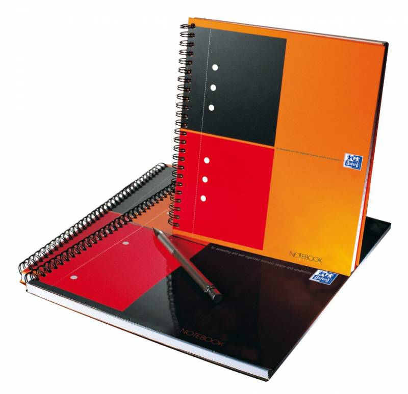 Тетрадь Oxford International NOTEBOOK 100101849 A5+ ламин.картон 80стр. клетка спираль двойная оранж