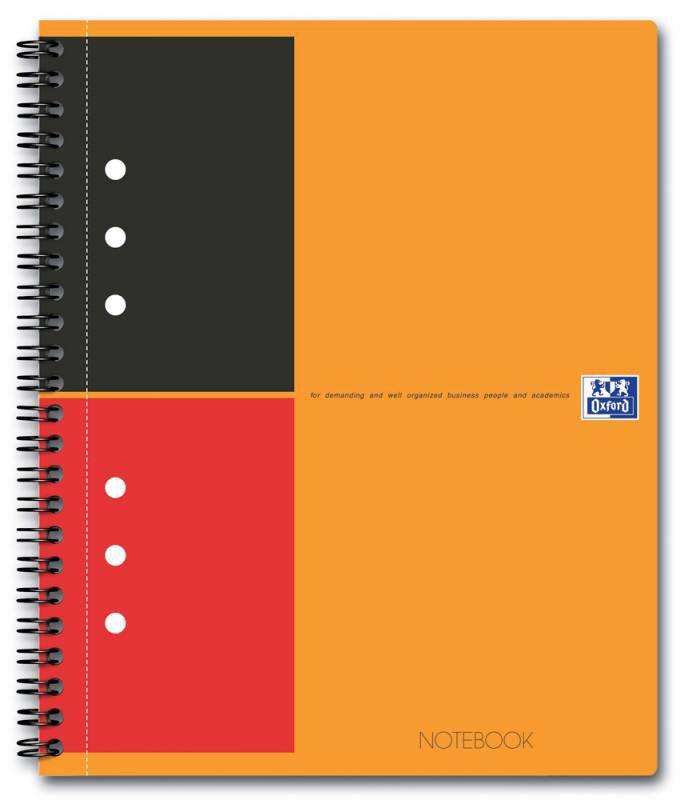 Тетрадь Oxford International NOTEBOOK A5+ ламин.картон 80л линейка спираль двойная оранжевый/черный/ [100102680]