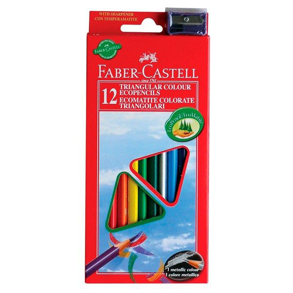 Карандаши цветные Faber-Castell Eco 120523 12цв. точилка карт.кор.