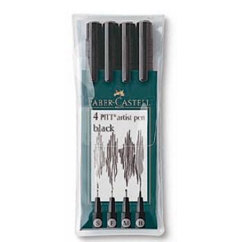 Набор ручек капиллярных Faber-Castell Pitt Artist Pen (167100) 4цв. оттенки серого футляр
