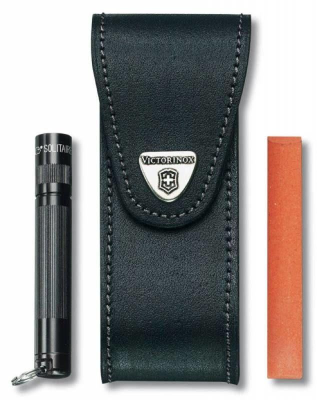 Чехол из нат.кожи Victorinox Leather Belt Pouch (4.0523.32) черный с застежкой на липучке/отдел.для