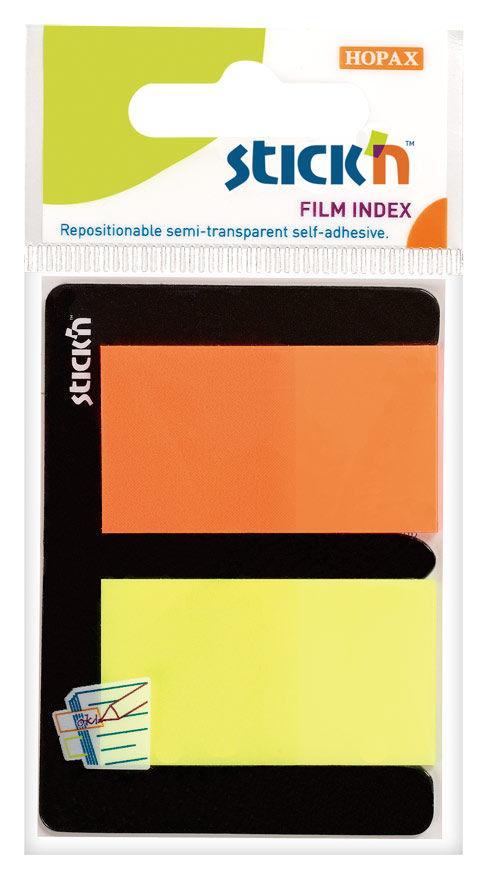 Закладки самокл. индексы пластиковые Stick`n 21039 25x45мм 2цв.в упак. 25лист европодвес
