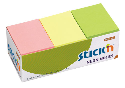 Блок самоклеящийся бумажный Stick`n 21131 38x51мм 100лист. 70г/м2 неон 3цв.в упак. без упаковки