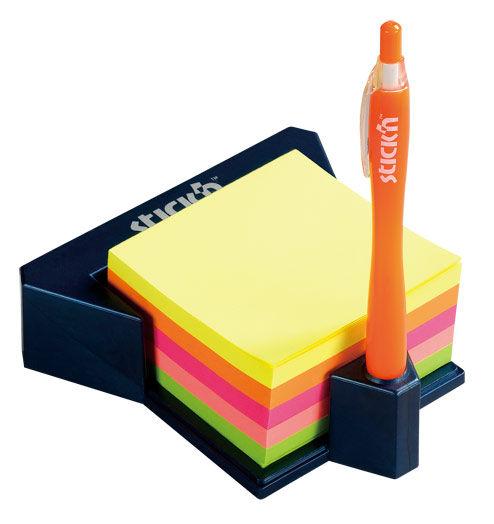 Блок самоклеящийся бумажный Stick`n 21272 76x76мм 400лист. 70г/м2 неон 5цв.в упак. в подставке