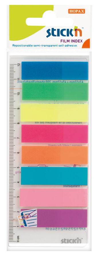 Закладки самокл. индексы пластиковые Stick`n 21345 12x45мм 8цв.в упак. 25лист на линейке европодвес