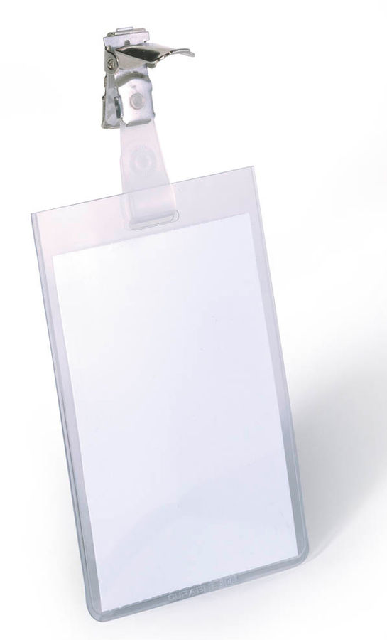 Бейдж Durable 8002-19 90х60мм вертикальный зажим вращающийся ПВХ прозрачный (упак.:25шт)