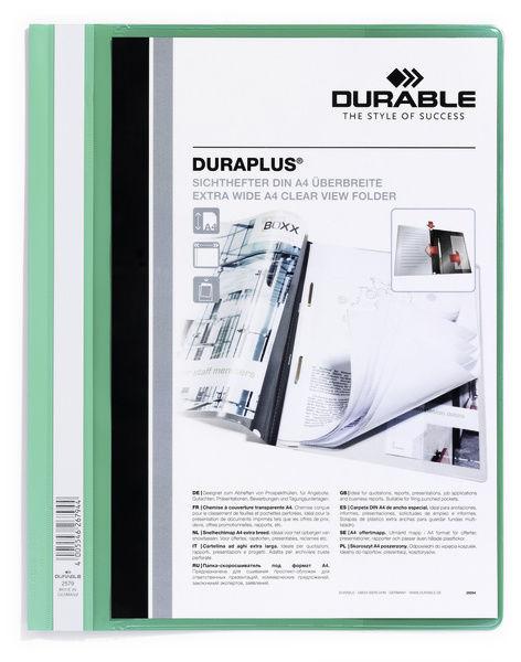 Папка-скоросшиватель Durable Duraplus 2579-05 A4+ прозрач.верх.лист карман пластик зеленый