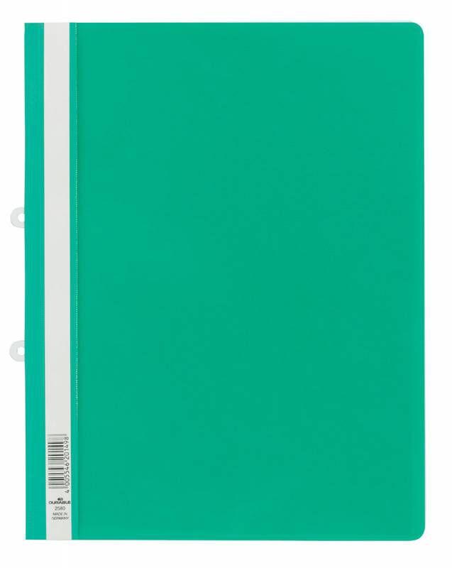 Папка-скоросшиватель Durable 258005 прозрач.верх.лист боков.перф. зеленый