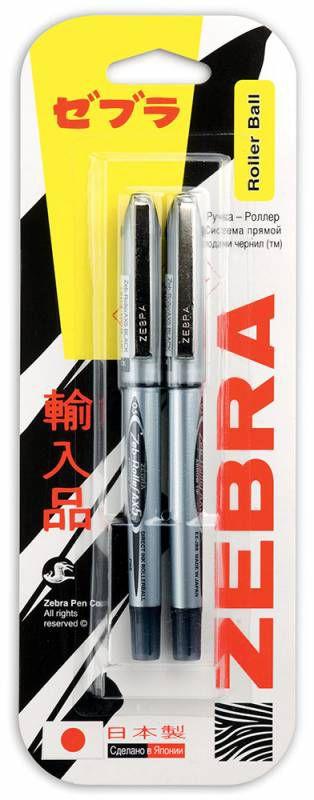 Ручка-роллер Zebra ZEB-ROLLER BE& DX5 0.5мм игловидный пиш. наконечник черный/черный блистер (2шт)