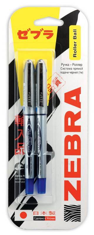 Ручка-роллер Zebra ZEB-ROLLER BE& DX5 0.5мм игловидный пиш. наконечник синий/синий блистер (2шт)