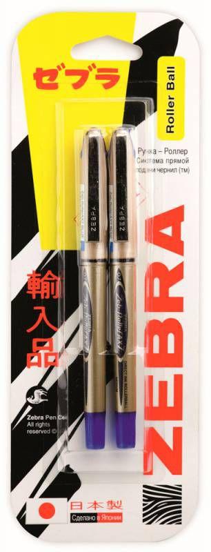 Ручка-роллер Zebra ZEB-ROLLER BE& AX7 0.7мм стреловидный пиш. наконечник синий/синий блистер (2шт)
