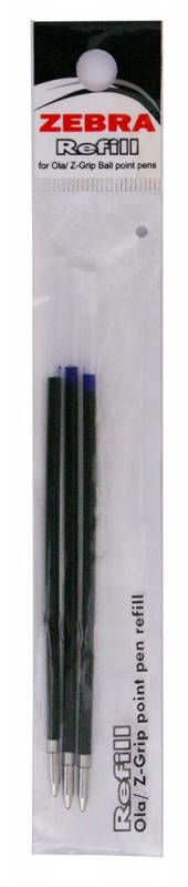 Стержень для шариковых ручек Zebra OLA 1мм синий (3шт)