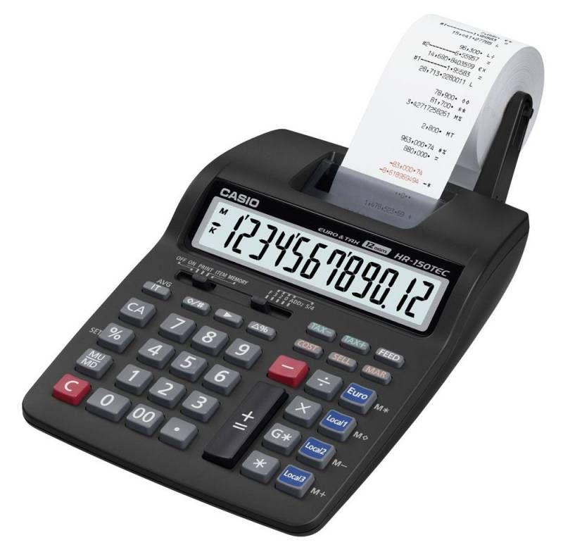 Калькулятор CASIO HR-150TEC-W1-E-EH,  12-разрядный, черный