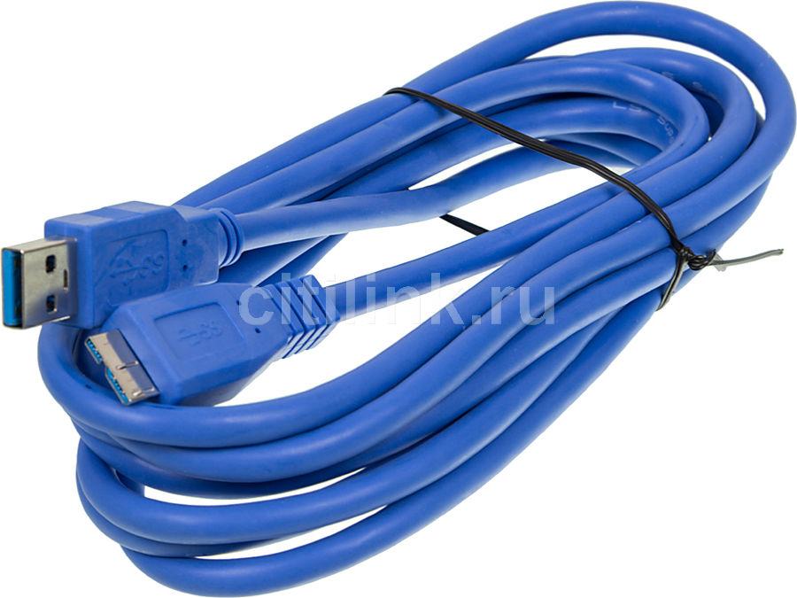 Кабель USB3.0 NINGBO USB A(m) -  micro USB B (m),  3м,  блистер,  синий