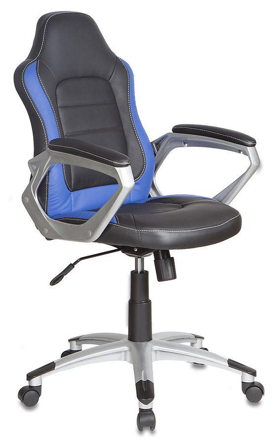 Кресло руководителя БЮРОКРАТ CH-825S, на колесиках, искусственная кожа, черный/синий [ch-825s/black+bl]