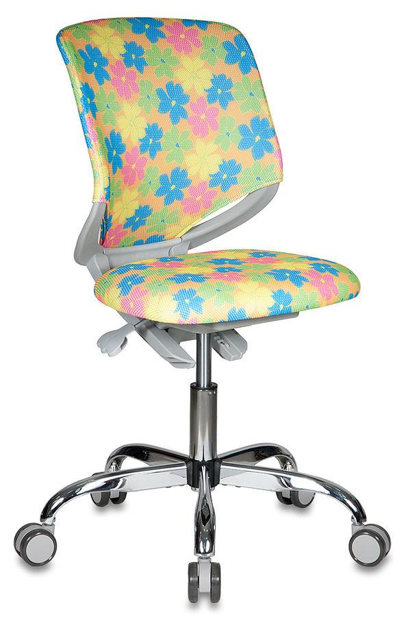 Кресло детское БЮРОКРАТ KD-7, на колесиках, ткань, оранжевый/принт [kd-7/tw-76]