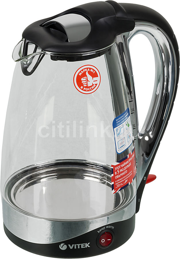 Чайник электрический VITEK VT-1102 BK, 2200Вт, черный
