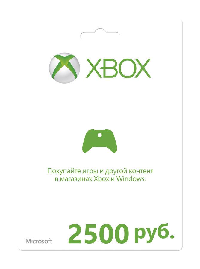 Карта оплаты MICROSOFT Xbox Live 2500 RUB, для  Xbox [k4w-00544]
