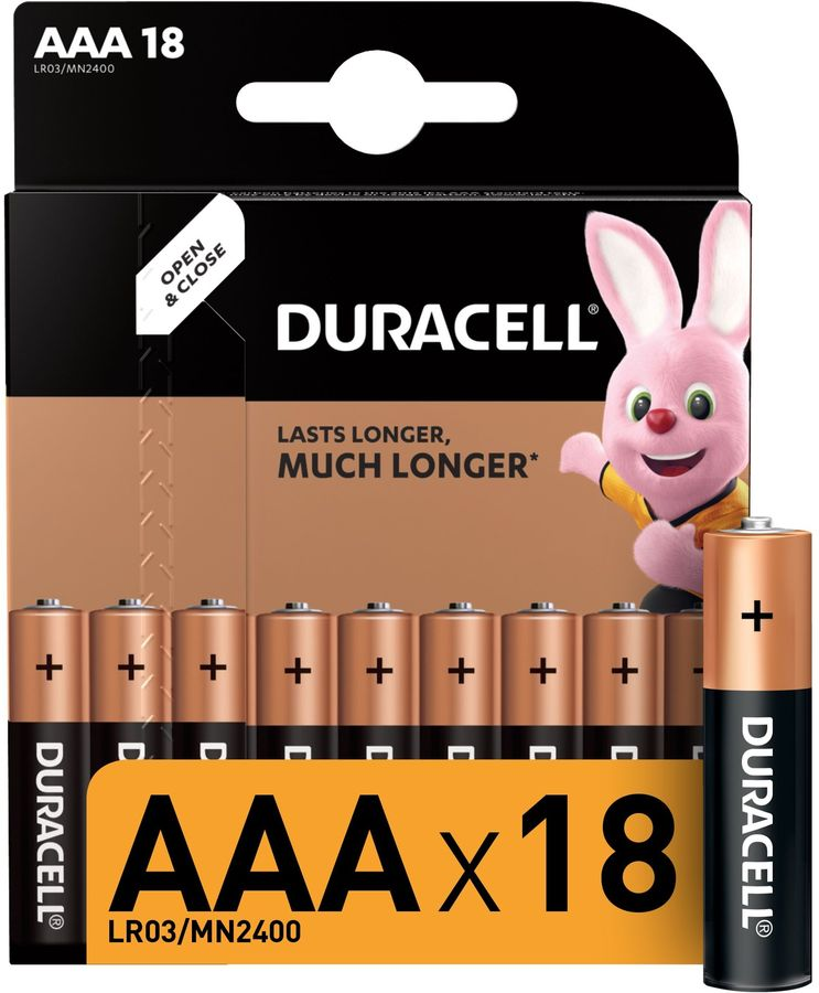 Батарея DURACELL Basic LR03-18BL,  18 шт. AAA