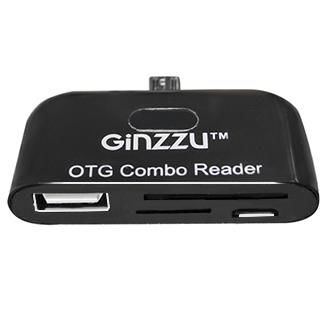 Картридер OTG GINZZU GR-581UB,  microUSB -  USB/microUSB,  черный