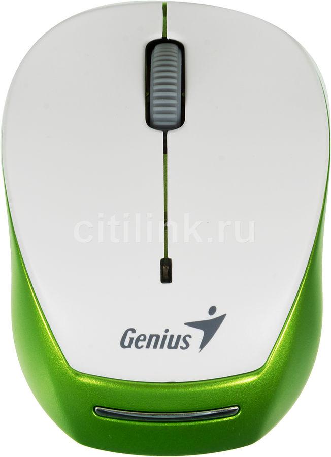Мышь GENIUS Micro Traveler 9000R оптическая беспроводная USB, белый и зеленый [31030108103]