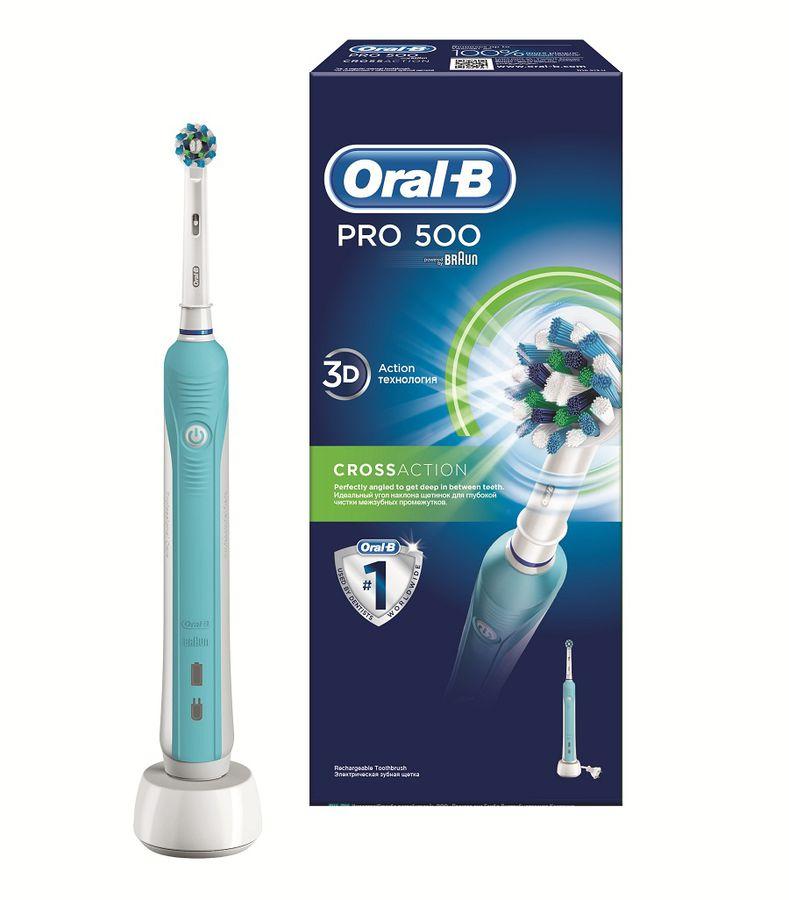 Электрическая зубная щетка ORAL-B CrossAction PRO 500 голубой [80272123]